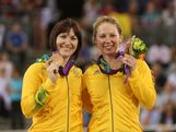 Bronze medalists Anna Meares and Kaarle Mcculloch of Australia pose with their medals during the medal ceremony for the Women's Team Sprint Track Cycling on Day 6 of the London 2012 Olympic Games at Velodrome on August 2, 2012 in London, England.