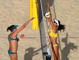 Becchara Palmer of Australia is blocked by Maria Antonelli of Brazil during the Women's Beach Volleyball preliminary match between Brazil and Australia on Day 6 of the London 2012 Olympic Games at Horse Guards Parade on August 2, 2012 in London, England.