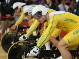 Matthew Glaetzer, Shane Perkins and Scott Sunderland of Australia prepare to compete in the Men's Team Sprint Track Cycling qualifying on Day 6 of the London 2012 Olympic Games at Velodrome on August 2, 2012 in London, England.