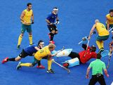 Mathew Butturini of Australia scores during the Men's Hockey preliminary match between Australia and Argentina on Day 7 of the London 2012 Olympic Games at Riverbank Arena on August 3, 2012 in London, England
