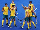 Mathew Butturini of Australia celebrates scoring during the Men's Hockey preliminary match between Australia and Argentina on Day 7 of the London 2012 Olympic Games at Riverbank Arena on August 3, 2012 in London, England