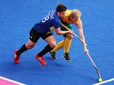 Gonzalo Peillat of Argentina battles with Mathew Butturini of Australia during the Men's Hockey preliminary match between Australia and Argentina on Day 7 of the London 2012 Olympic Games at Riverbank Arena on August 3, 2012 in London, England