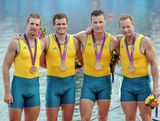 Daniel Noonan, James Mcrae, Karsten Forsterling and Christopher Morgan of Australia celebrate with their bronze medals during the medal ceremony for the Men's Quadruple Sculls final on Day 7 of the London 2012 Olympic Games at Eton Dorney on August 3, 2012 in Windsor, England.