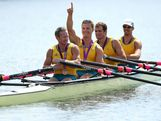 Daniel Noonan, James Mcrae, Karsten Forsterling and Christopher Morgan of Australia celebrate in their boat with their bronze medals after the medal ceremony for the Men's Quadruple Sculls final on Day 7 of the London 2012 Olympic Games at Eton Dorney on August 3, 2012 in Windsor, England.