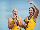 Kim Crow and Brooke Pratley of Australia celebrate with their silver medals during the medal ceremony forthe Women's Double Sculls final on Day 7 of the London 2012 Olympic Games at Eton Dorney on August 3, 2012 in Windsor, England.