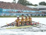 Daniel Noonan, James Mcrae, Karsten Forsterling and Christopher Morgan of Australia compete in the Men's Quadruple Sculls final on Day 7 of the London 2012 Olympic Games at Eton Dorney on August 3, 2012 in Windsor, England.