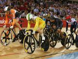 Anna Meares (front) of Australia competes next to Willy Kanis of Netherlands during the Women's Keirin Track Cycling qualifying on Day 7 of the London 2012 Olympic Games at Velodrome on August 3, 2012 in London, England.
