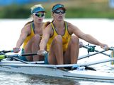 Kim Crow (L) and Brooke Pratley of Australia in action during the women's double sculls final on Day 7 of the London 2012 Olympic Games at Eton Dorney on August 3, 2012 in Windsor, England.