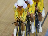 Jack Bobridge, Glenn O'Shea, Rohan Dennis and Michael Hepburn of Australia compete in the Men's Team Pursuit Track Cycling qualifying on Day 7 of the London 2012 Olympic Games at Velodrome on August 3, 2012 in London, England.