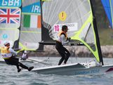 Nathan Outteridge (L) and Iain Jensen of Australia compete in the Men's 49er Sailing on Day 7 of the London 2012 Olympic Games at the Weymouth & Portland Venue at Weymouth Harbour on August 3, 2012 in Weymouth, England.