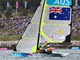 Nathan Outteridge (R) and Iain Jensen of Australia compete in the Men's 49er Sailing on Day 7 of the London 2012 Olympic Games at the Weymouth & Portland Venue at Weymouth Harbour on August 3, 2012 in Weymouth, England.