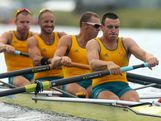William Lockwood, James Chapman, Drew Ginn and Joshua Dunkley-Smith of Australia compete on their way to winning silver in the Men's Four Final on Day 8 of the London 2012 Olympic Games at Eton Dorney on August 4, 2012 in Windsor, England.
