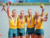 William Lockwood, James Chapman, Drew Ginn and Joshua Dunkley-Smith of Australia celebrate with their silver medals during the medal ceremony for the Men's Four Final on Day 8 of the London 2012 Olympic Games at Eton Dorney.