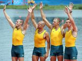 William Lockwood, James Chapman, Drew Ginn and Joshua Dunkley-Smith of Australia celebrate before receiving their silver medals during the medal ceremony for the Men's Four Final on Day 8 of the London 2012 Olympic Games at Eton Dorney on August 4, 2012 in Windsor, England.