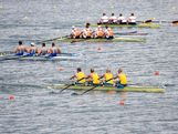 The Australia team leads the Greece, Netherlands and Germany teams as they compete in the Men's Four Final on Day 8