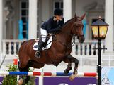 Julia Hargreaves of Australia riding Vedor competes in the 1st Qualifier of Individual Jumping on Day 8