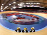 Annette Edmondson, Melissa Hoskins and Josephine Tomic of Australia in action during the Women's Team Pursuit Track Cycling First Round heat against the United States on Day 8 of the London 2012 Olympic Games at Velodrome on August 4, 2012 in London, England.