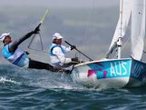 Mathew Belcher and Malcolm Page of Australia compete in the Men's 470 Sailing on Day 8 of the London 2012 Olympic Games at the Weymouth & Portland Venue at Weymouth Harbour on August 4, 2012 in Weymouth, England.