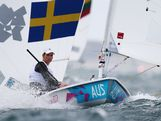 Krystal Weir of Australia competes in the Laser Radial Women's Sailing on Day 8 of the London 2012 Olympic Games at the Weymouth & Portland Venue at Weymouth Harbour on August 4, 2012 in Weymouth, England.