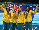 Silver medallists (L-R) Alicia Coutts, Leisel Jones, Melanie Schlanger and Emily Seebohm of Australia pose following the medal ceremony for the Women's 4x100m medley Relay Final on Day 8 of the London 2012 Olympic Games at the Aquatics Centre on August 4, 2012 in London, England.