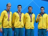 Bronze medallists (L-R) Hayden Stoeckel, Matt Targett, Christian Sprenger, and James Magnussen of Australia pose on the podium in the medal ceremony for the Men's 4x100m medley Relay Final on Day 8 of the London 2012 Olympic Games at the Aquatics Centre on August 4, 2012 in London, England.