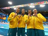 Bronze medallists (L-R) Christian Sprenger, James Magnussen, Matt Targett, and Hayden Stoeckel of Australia pose following the medal ceremony for the Men's 4x100m medley Relay Final on Day 8 of the London 2012 Olympic Games at the Aquatics Centre on August 4, 2012 in London, England.