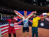(L-R) Bronze medalist Will Claye of the United States, gold  medalist Greg Rutherford of Great Britain and silver medalist Mitchell Watt of Australia celebrate after the Men's Long Jump Final on Day 8 of the London 2012 Olympic Games at Olympic Stadium on August 4, 2012 in London, England.