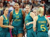 O'Hea #4, Liz Cambage #14, Suzy Batkovic #8 and Samantha Richards #5 of Australia celebrate after Cambage scored against Canada during the Women's Basketball Preliminary Round match on Day 9 of the London 2012 Olympic Games at the Basketball Arena on August 5, 2012 in London, England.