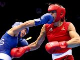 Anna Laurell of Sweden (R) in action with Naomi-Lee Fischer-Rasmussen of Australia during the Women's Middle (69-75kg) Boxing on Day 9 of the London 2012 Olympic Games at ExCeL on August 5, 2012 in London, England.
