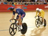 Shane Perkins (R) of Australia competes against Jimmy Watkins of the United States during the Men's Sprint Track Cycling Quarterfinals on Day 9 of the London 2012 Olympic Games at Velodrome on August 5, 2012 in London, England.