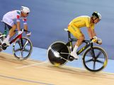 Glenn O'Shea (R) of Australia leads Elia Vivani of Italy in the Men's Omnium Track Cycling 15km Scratch Race on Day 9 of the London 2012 Olympic Games at Velodrome on August 5, 2012 in London, England.