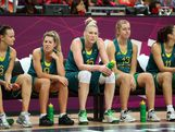 Australian Opals watch from the bench with teammates during the Women's Basketball Preliminary Round match against Canada on