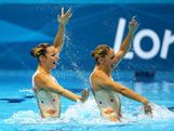 Eloise Amberger and Sarah Bombell of Australia compete in the Women's Duets Synchronised Swimming Technical Routine on Day 9 of the London 2012 Olympic Games at the Aquatics Centre  on August 5, 2012 in London, England.