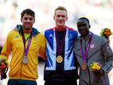 (L-R) Silver medalist Mitchell Watt of Australia, gold medalist Greg Rutherford of Great Britain and bronze medalist Will Claye of the United States pose on the podium for Men's Long Jump on Day 9 of the London 2012 Olympic Games at the Olympic Stadium on August 5, 2012 in London, England.