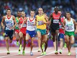 Ross Murray of Great Britain, Ryan Gregson of Australia and Asbel Kiprop of Kenya compete in the Men's 1500m Semi Final on Day 9 of the London 2012 Olympic Games at the Olympic Stadium on August 5, 2012 in London, England.