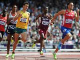 Jeffrey Riseley of Australia, Musaeb Abdulrahman Balla of Qatar and Wesley Vazquez of Puerto Rico compete in the Men's 800m heat