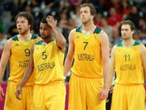 LONDON, ENGLAND - AUGUST 06:  (L-R) Matt Dellavedova #9, Patrick Mills #5, Joe Ingles #7 and Mark Worthington #11 of Australia during the Men's Basketball Preliminary Round match against Russia on Day 10
