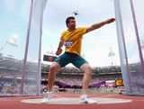 Julian Wruck of Australia competes in the Men's Discus Throw qualification on Day 10 of the London 2012 Olympic Games at the Olympic Stadium on August 6, 2012 in London, England.