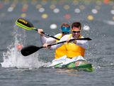 Dave Smith (R) and Ken Wallace of Australia compete in the Men's Kayak Double (K2) 1000m Canoe Sprint semifinal on Day 10 of the London 2012 Olympic Games at Eton Dorney on August 6, 2012 in Windsor, England.