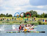 Murray Stewart of Australia competes in the Men's Kayak Single (K1) 1000m Canoe Sprint semifinal on Day 10