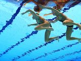 Eloise Amberger and Sarah Bombell of Australia compete in the Women's Duets Synchronised Swimming Free Routine Preliminary on Day 10 of the London 2012 Olympic Games at the Aquatics Centre on August 6, 2012 in London, England.