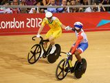 Shane Perkins (L) of Australia competes shakes hands with Gregory Bauge of France during the Men's Sprint Track Cycling semi-finals on Day 10 of the London 2012 Olympic Games at Velodrome on August 6, 2012 in London, England.