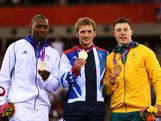 (L-R) Silver medallist Gregory Bauge, gold medallist Jason Kenny of Great Britain and bronze4 medallist Shane Perkins of Australia celebrate during the medal ceremony for the Men's Sprint Track Cycling Final on Day 10 of the London 2012 Olympic Games at Velodrome on August 6, 2012 in London, England.