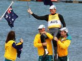 Tom Slingsby of Australia is lifted onto the shoulders of team mates after winning gold in the Men's Laser Sailing on Day 10 of the London 2012 Olympic Games at the Weymouth & Portland Venue at Weymouth Harbour on August 6, 2012 in Weymouth, England.  (Photo by Getty Images)