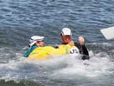 Tom Slingsby (R) of Australia is pulled into the water by team mate Brendan Casey after winning gold in the Men's Laser Sailing on Day 10 of the London 2012 Olympic Games at the Weymouth & Portland Venue at Weymouth Harbour on August 6, 2012 in Weymouth, England.  (Photo by Getty Images)