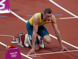 Steven Solomon of Australia lines up prior to the Men's 400m final on Day 10 of the London 2012 Olympic Games at the Olympic Stadium on August 6, 2012 in London, England.