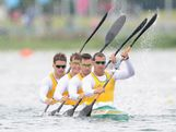 Tate Smith, Dave Smith, Murray Stewart and Jacob Clear of Australia compete during the Men's Kayak Four (K4) 1000m Canoe Sprint Heats on Day 11 of the London 2012 Olympic Games at Eton Dorney on August 7, 2012 in Windsor, England.