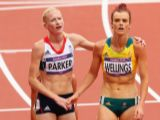 Barbara Parker of Great Britain shakes hands with Eloise Wellings of Australia after the Women's 5000m Round 1 Heats on Day 11 of the London 2012 Olympic Games at Olympic Stadium on August 7, 2012 in London, England.