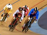 Shane Perkins of Australia, Kazunari Watanabe of Japan, Kamil Kuczynski of Poland and Denis Spicka of Czech Republic compete in the Men's Keirin Track Cycling First Round Repechages on Day 11 of the London 2012 Olympic Games at Velodrome on August 7, 2012 in London, England.