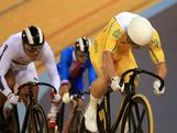 Shane Perkins competes in the Men's Keirin Track Cycling First Round Repechages on Day 11